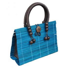 Light Blue Bamboo Handbag
