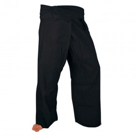 Large Fisherman Pants - Black Cotton