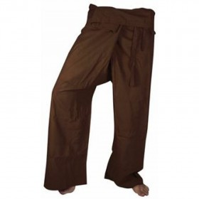 Large Fisherman Pants - Brown Cotton