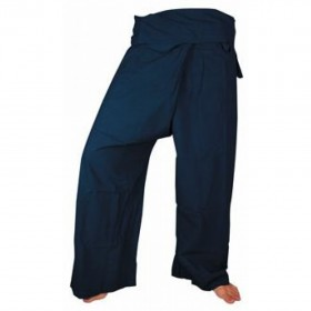 Large Fisherman Pants - Navy Cotton