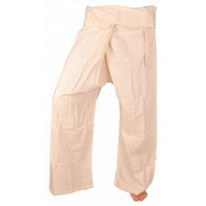 Large Fisherman Pants - White Cotton