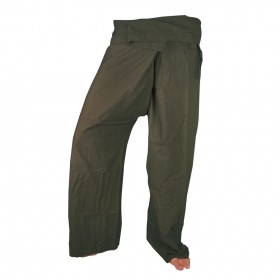 Large Fisherman Pants - Green Cotton