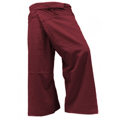 Fisherman Pants - Maroon Cotton