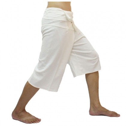 White Fisherman Pants 3/4 Length