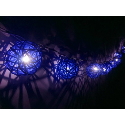 Blue Rattan Ball String Lights