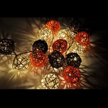 Earthy Rattan Ball String Lights