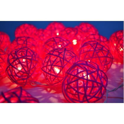 Pink Rattan Ball String Lights