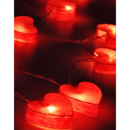 Heart Paper Lantern String Lights - Red