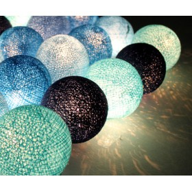 Blue Cotton Ball String Lights