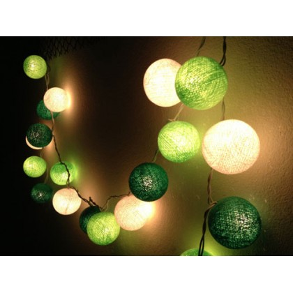 Green Cotton Ball String Lights
