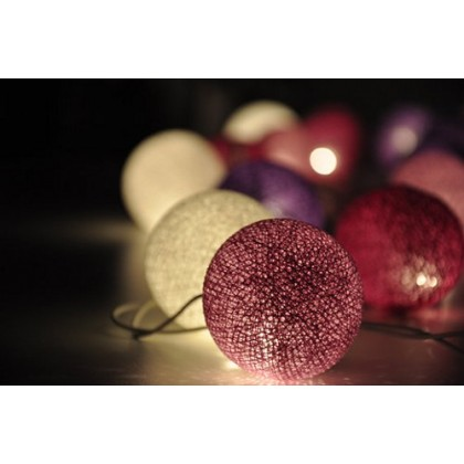 Purple Shades Cotton Ball String Lights