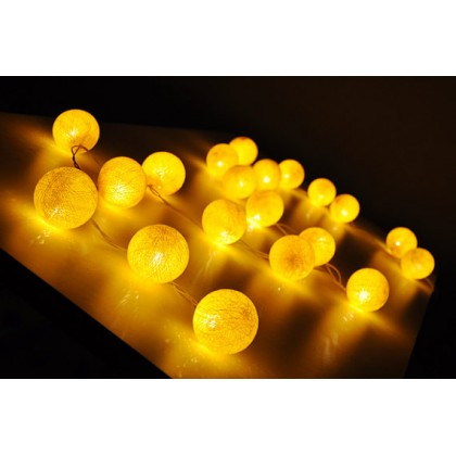 Yellow Cotton Ball String Lights
