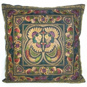 Earthy Hmong Hill Tribe Cushion Cover