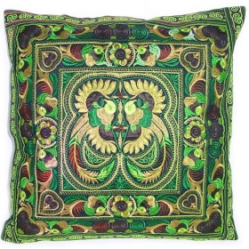 Green Hmong Cushion Cover