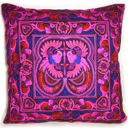 Magenta Hmong Cushion Cover