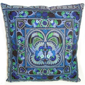 Blue Hmong Cushion Cover