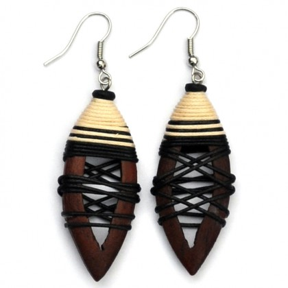 Brown Hollow Pointed Earrings