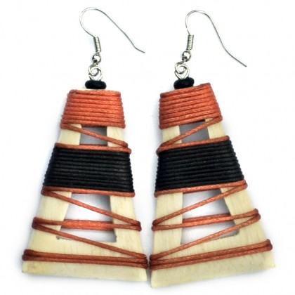 Cream Hollow Pyramid Earrings