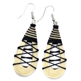 Cream Hollow Teardrop Earrings