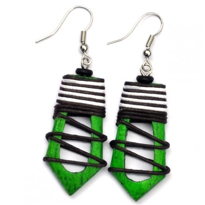 Green Hollow Abstract Earrings
