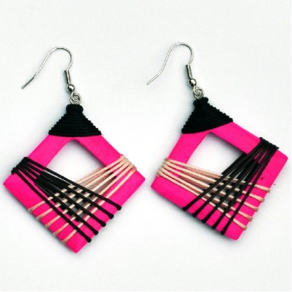 Pink Hollow Square Earrings