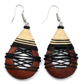 Tan Hollow Teardrop Earrings