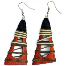 Wood Hollow Pyramid Earrings