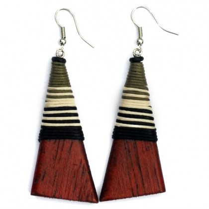 Wood Pyramid Earrings