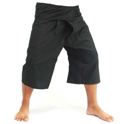 3/4 Length Fisherman Pants - Black Cotton