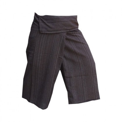 Black Thai Fisherman Pants 3/4 Length - Cotton