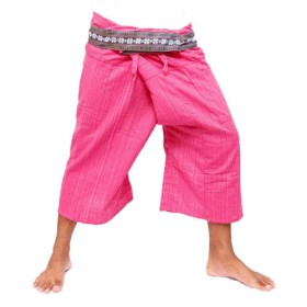 Pink Thai Fisherman Pants 3/4 Length - Cotton