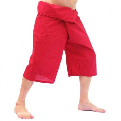 3/4 Length Fisherman Pants - Red Cotton