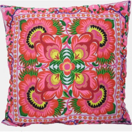 Hmong Cushion Cover - Pink Flower