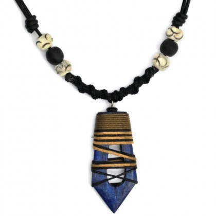 Blue Hollow Abstract Necklace