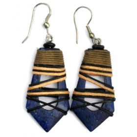 Blue Hollow Abstract Earrings