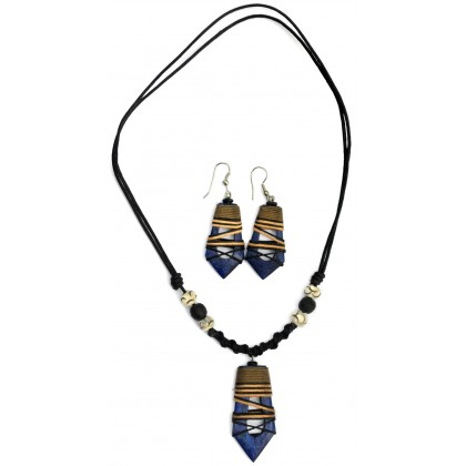 Blue Hollow Abstract Jewellery Set