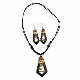 Brown Hollow Abstract Jewellery Set