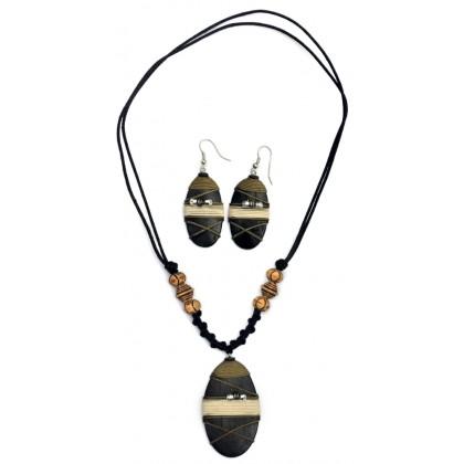Earthtone Oval Studded Jewellery Set