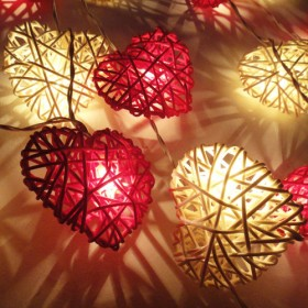 Rattan Heart String Lights - Red White and Pink