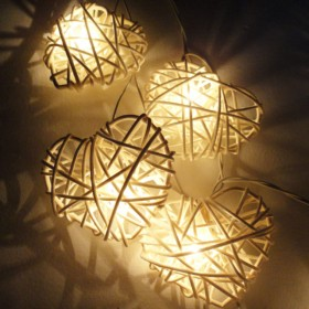 Rattan Heart String Lights - White