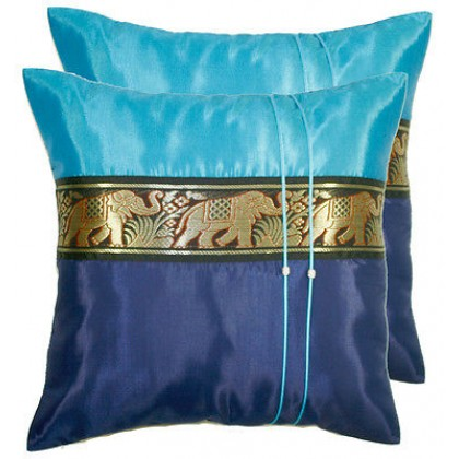 Thai Silk Cushion Cover - Blue Tones Elephant Band