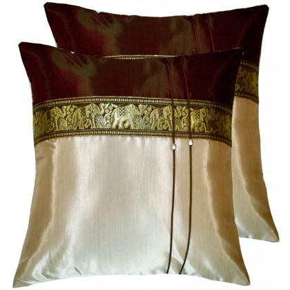Thai Silk Cushion Cover - Brown and Beige Elephant Band