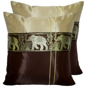 Thai Silk Cushion Cover - Cream and Brown Elephant Band