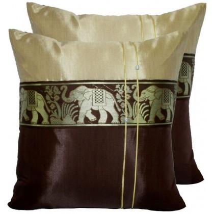 Thai Silk Cushion Cover - Cream and Brown Elephant Band