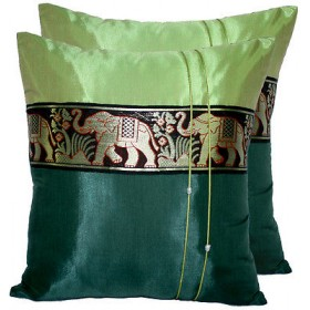 Thai Silk Cushion Cover - Green Tones Elephant Band