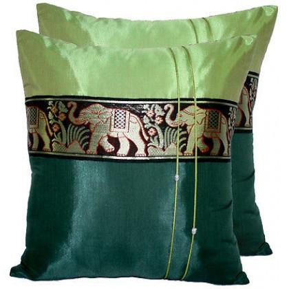 Thai Silk Cushion Cover - Green Tones Elephant Band