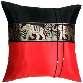 Thai Silk Cushion Cover - Red and Brown Elephant Band