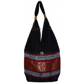 Red Tote Bag - Gold Elephant Band