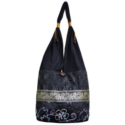 Black Thai Shoulder Bag - Ethnic Tribal Embroidery with Elephant Pattern